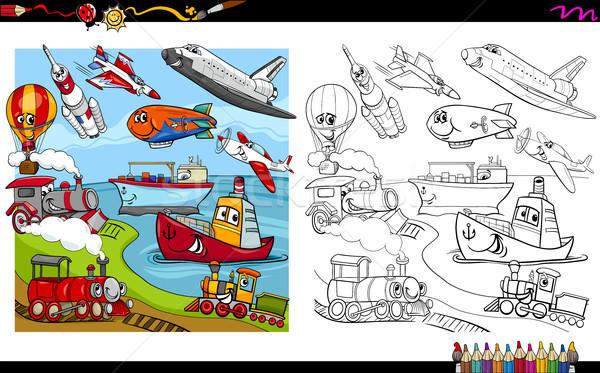 Zdjęcia stock: Transportu · pojazdy · strona · cartoon · ilustracja · pojazd