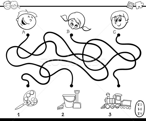 maze paths activity game for coloring Stock photo © izakowski