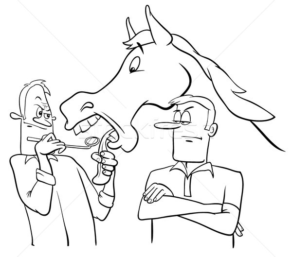 Regarder cadeau cheval bouche cartoon blanc noir Photo stock © izakowski