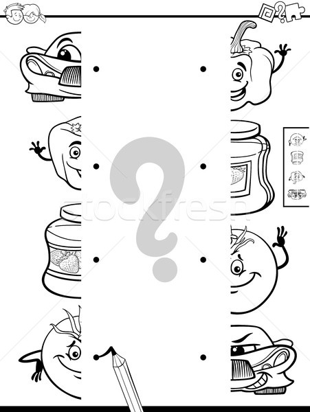 matching halves activity coloring page Stock photo © izakowski