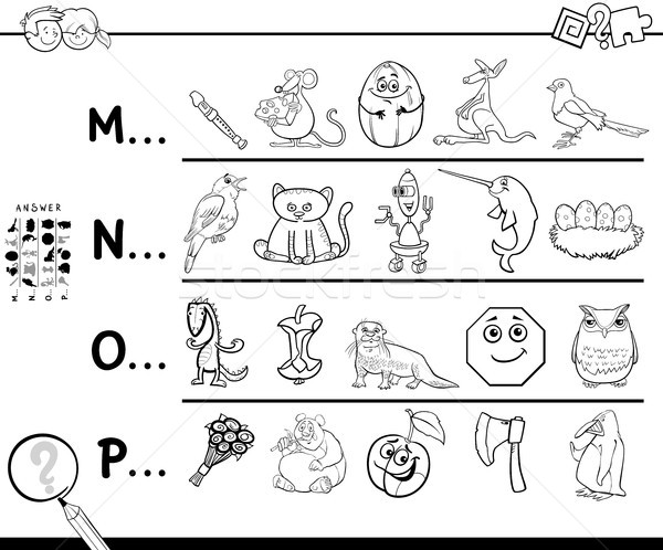 first letter of a word coloring page for kids Stock photo © izakowski
