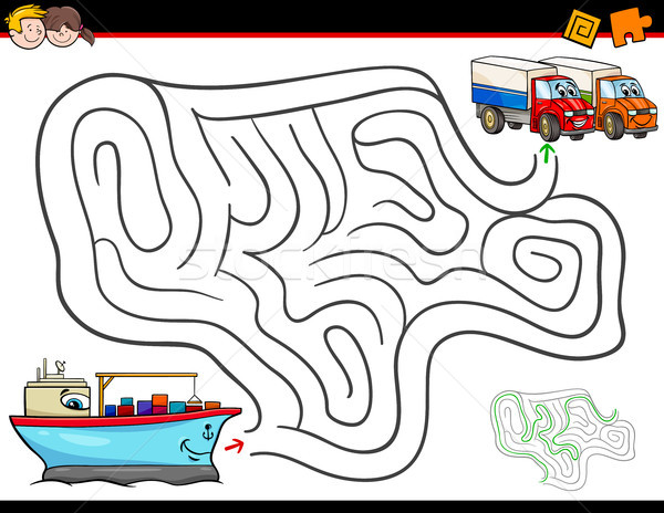 Cartoon labirynt działalność statku ciężarówki ilustracja Zdjęcia stock © izakowski
