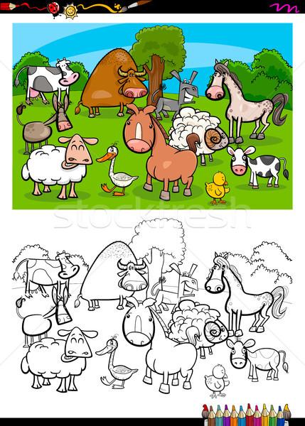 cute farm animals characters group color book Stock photo © izakowski