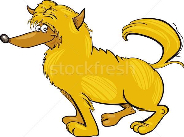 Kócos citromsárga kutya rajz illusztráció rajz Stock fotó © izakowski