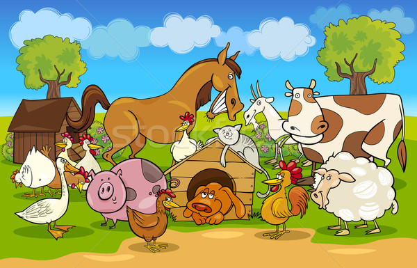 cartoon rural scene with farm animals Stock photo © izakowski