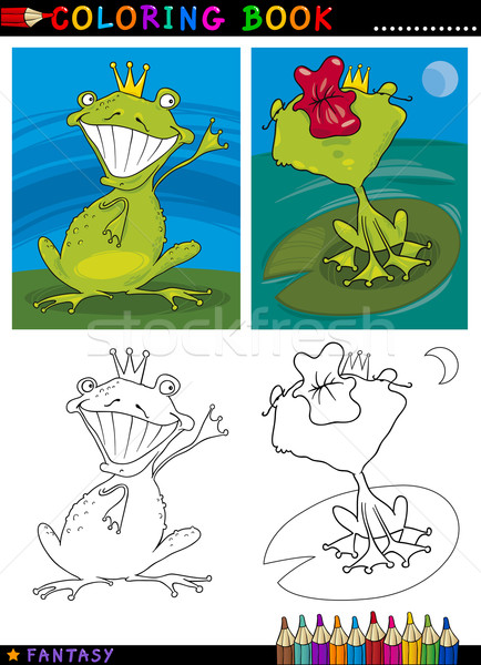 Fantasie kikker prins kleurboek pagina cartoon Stockfoto © izakowski