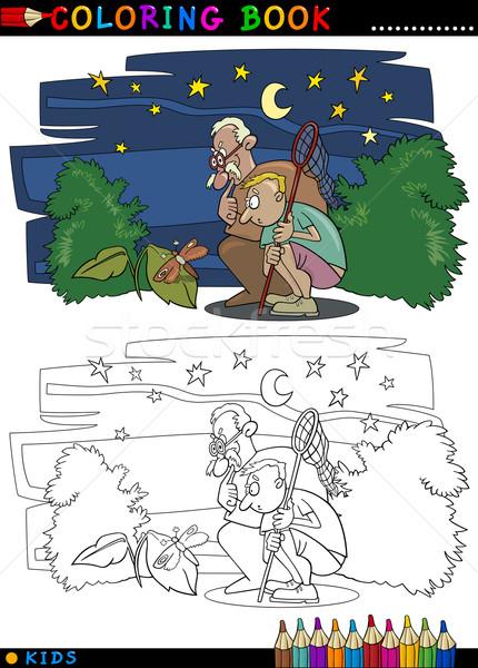 Erkek Dede Boyama Kitabı Sayfa Karikatür örnek Vektör
