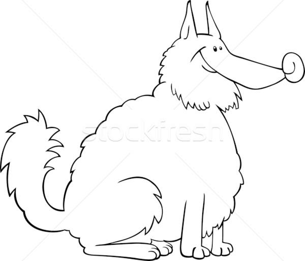 spitz dog cartoon for coloring book Stock photo © izakowski