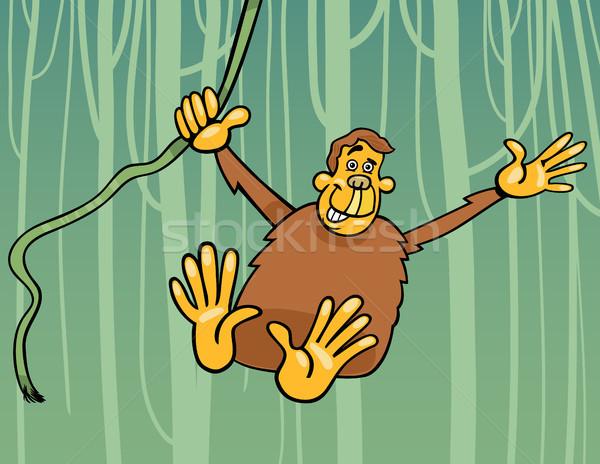 Ape jungle cartoon illustration drôle chimpanzé Photo stock © izakowski