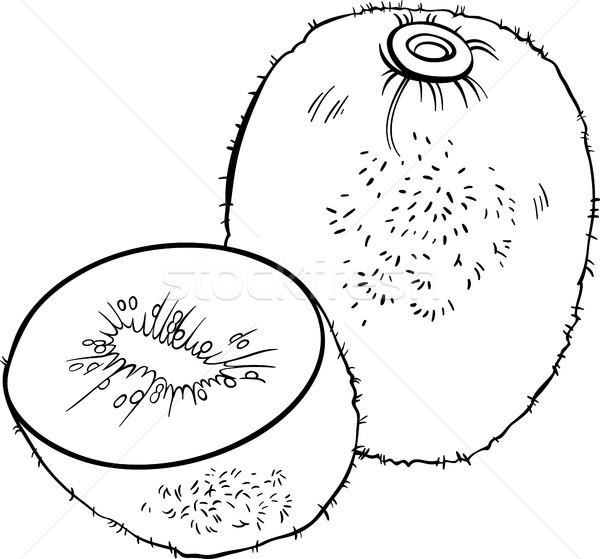 Kivi Meyve örnek Boyama Kitabı Siyah Beyaz Karikatür