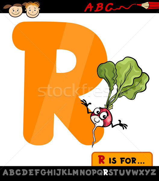 letter r with radish cartoon illustration Stock photo © izakowski