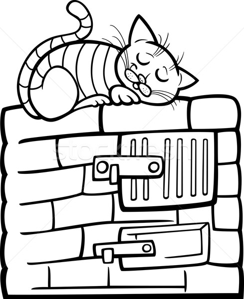 cat on stove cartoon coloring page Stock photo © izakowski