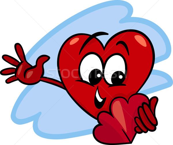 heart with valentine card cartoon Stock photo © izakowski