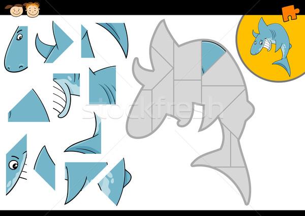 Rajz cápa kirakós játék játék illusztráció oktatás Stock fotó © izakowski