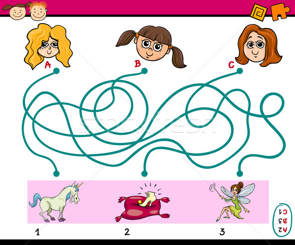 Trovare percorso gioco bambini cartoon illustrazione Foto d'archivio © izakowski