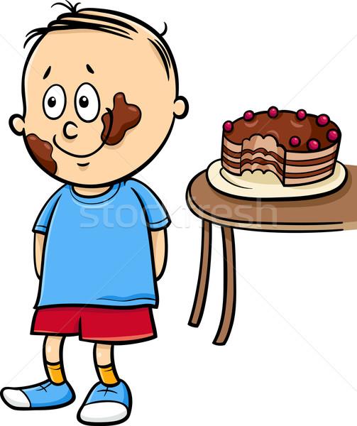 little gourmand boy cartoon Stock photo © izakowski