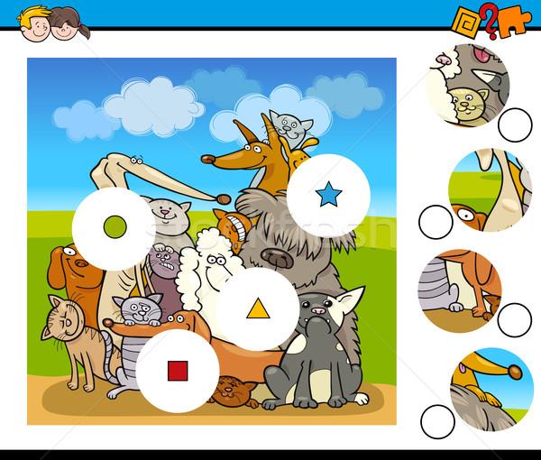Match pièces jeu chiens cartoon illustration Photo stock © izakowski