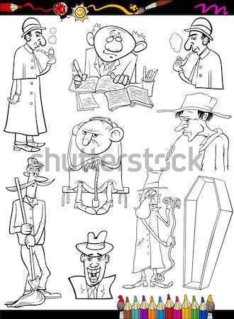 Oeste establecer libro para colorear blanco negro Cartoon Foto stock © izakowski