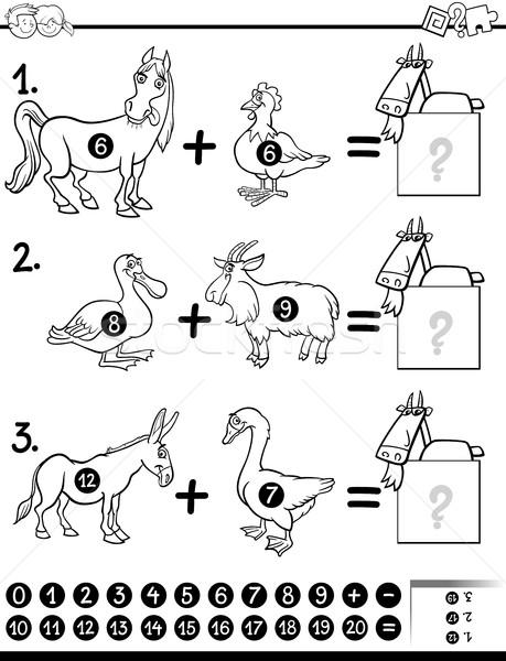 Wiskunde activiteit pagina zwart wit cartoon illustratie Stockfoto © izakowski