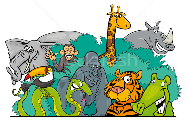 Cartoon jungle illustratie groep Stockfoto © izakowski