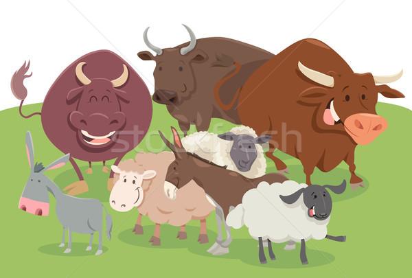 comic farm animal characters group Stock photo © izakowski