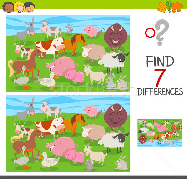 find differences game with farm animals group Stock photo © izakowski