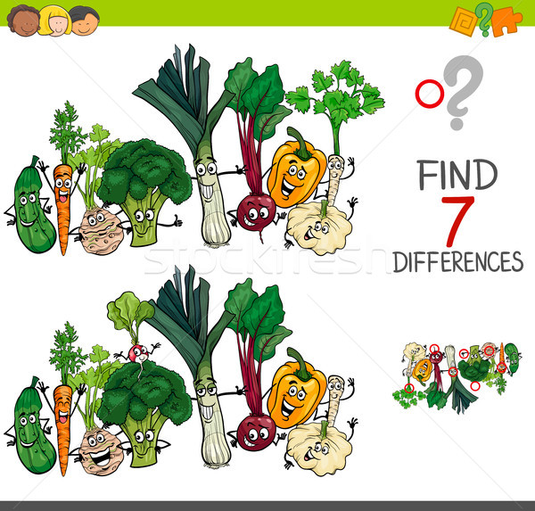 find differences game with vegetables characters Stock photo © izakowski