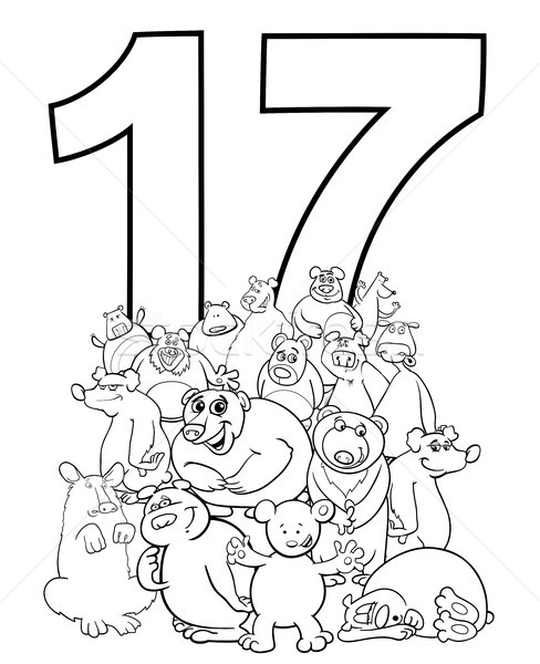 Número dezessete engraçado grupo preto e branco Foto stock © izakowski