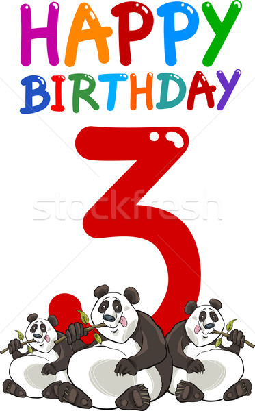 Troisième anniversaire anniversaire design cartoon illustration Photo stock © izakowski