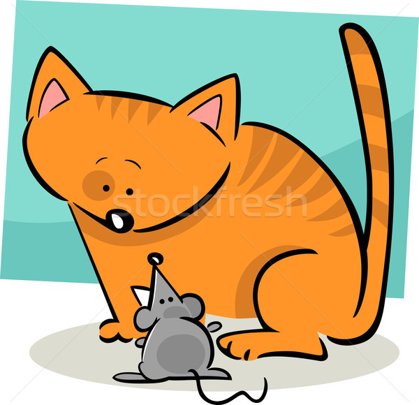 Cartoon doodle cat mouse illustrazione gattino Foto d'archivio © izakowski