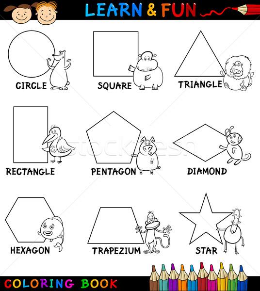 Basic Shapes with Animals for Coloring Stock photo © izakowski