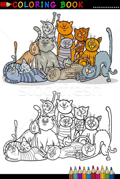 Stock fotó: Macskák · rajz · illusztráció · kifestőkönyv · boldog · kiscicák