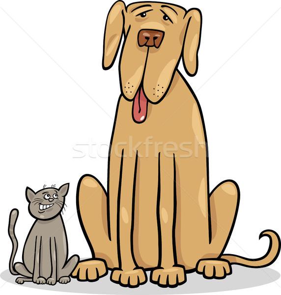 Stock photo: small cat and big dog cartoon illustration