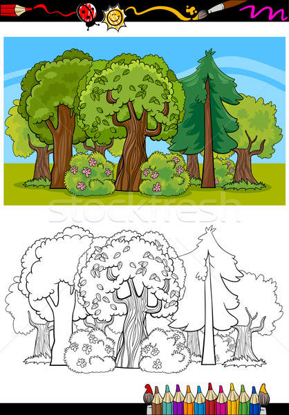 trees and forest cartoon for coloring book Stock photo © izakowski