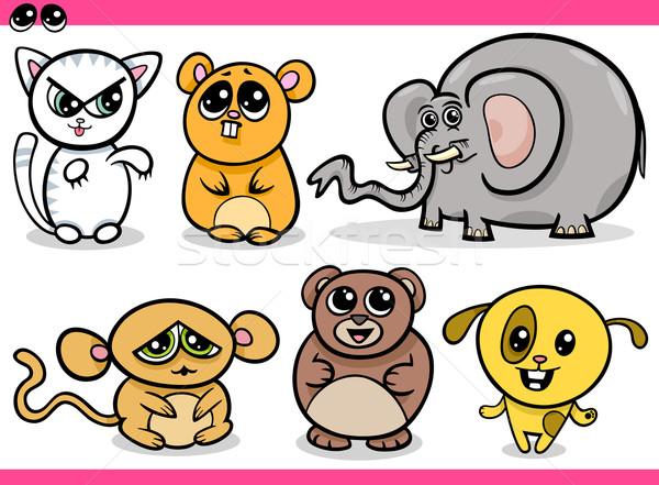 Sevimli kawaii hayvanlar karikatür örnek Stok fotoğraf © izakowski