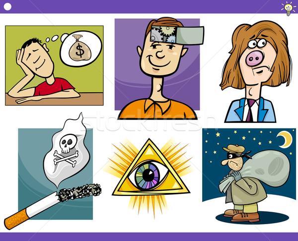 Stock photo: cartoon concepts and ideas set