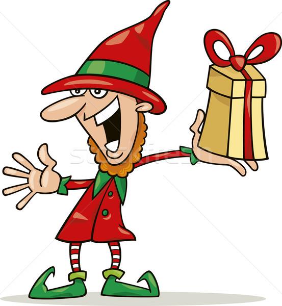 Karácsony manó különleges ajándék illusztráció mosoly Stock fotó © izakowski