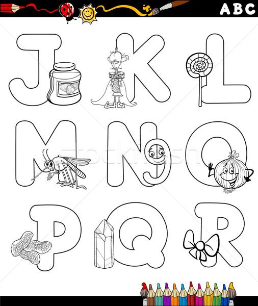 Cartoon alfabet kolorowanka czarno białe ilustracja litery Zdjęcia stock © izakowski