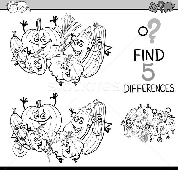 Diferencias tarea libro para colorear blanco negro Cartoon ilustración Foto stock © izakowski