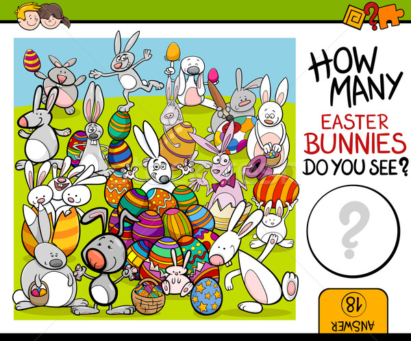 counting task with easter bunny Stock photo © izakowski
