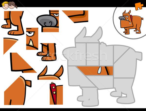 Kirakós játék rajz kutya illusztráció oktatási tevékenység Stock fotó © izakowski