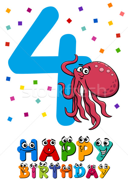 fourth birthday cartoon card Stock photo © izakowski