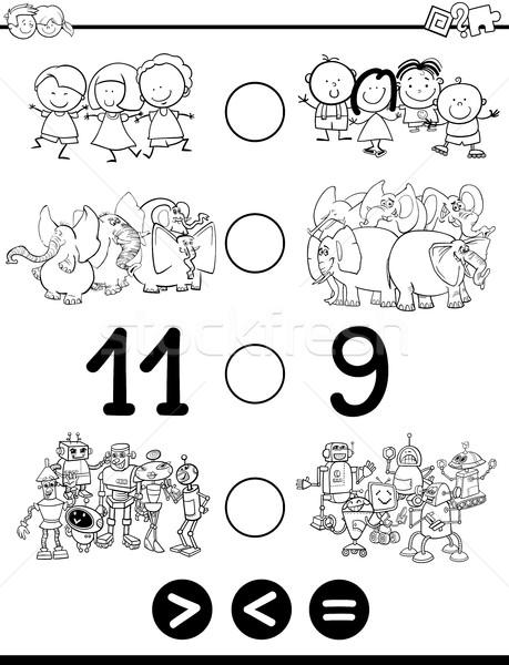 Menos igual preto e branco desenho animado ilustração Foto stock © izakowski