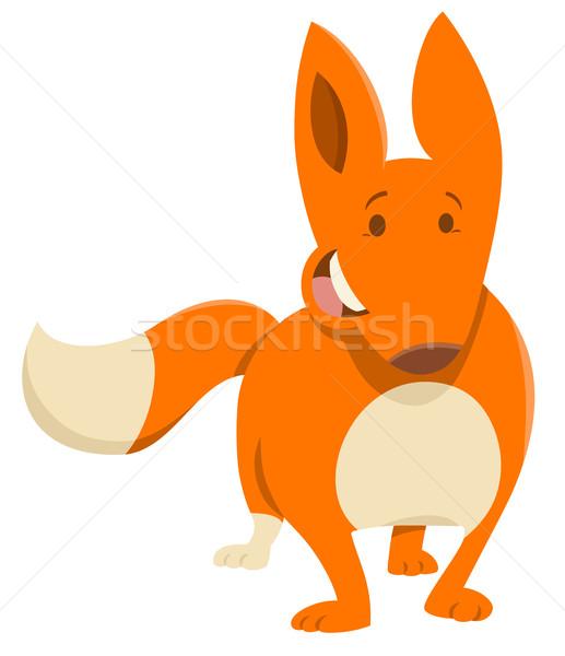 Stockfoto: Cartoon · vos · dier · karakter · illustratie · vrolijk
