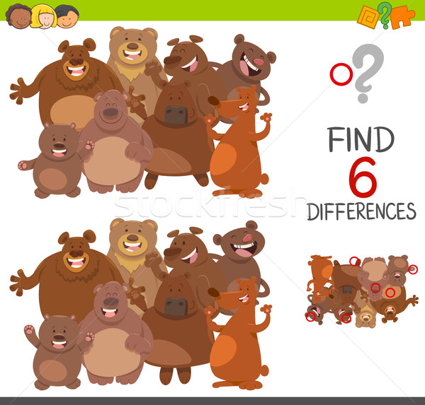 spot differences game with bears Stock photo © izakowski