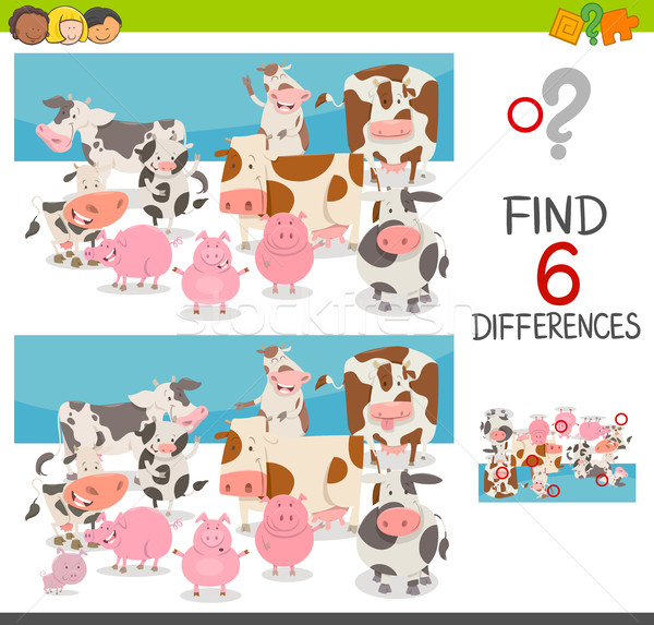 Place différences animaux cartoon illustration Photo stock © izakowski