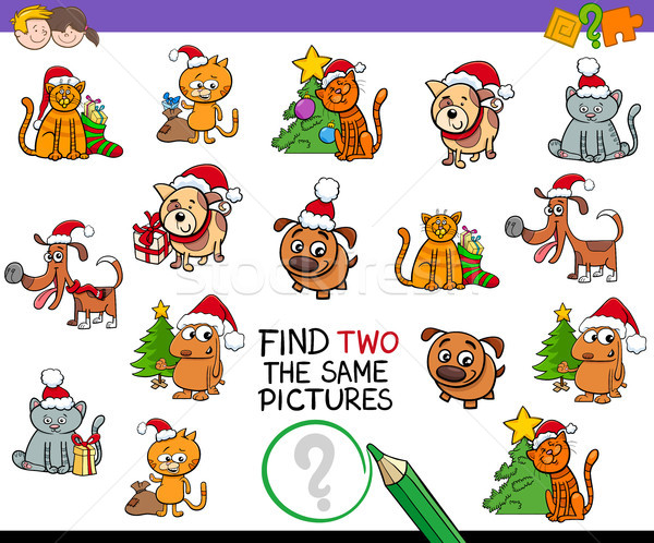 find identical pictures activity with Xmas pets Stock photo © izakowski