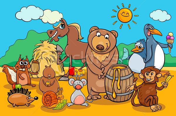 Animali alimentare cartoon gruppo illustrazione divertente Foto d'archivio © izakowski