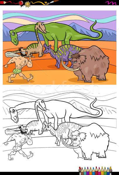 cartoon prehistoric characters coloring book Stock photo © izakowski