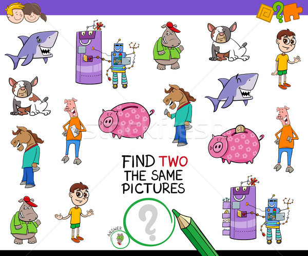 Encontrar dois fotos desenho animado jogo ilustração Foto stock © izakowski
